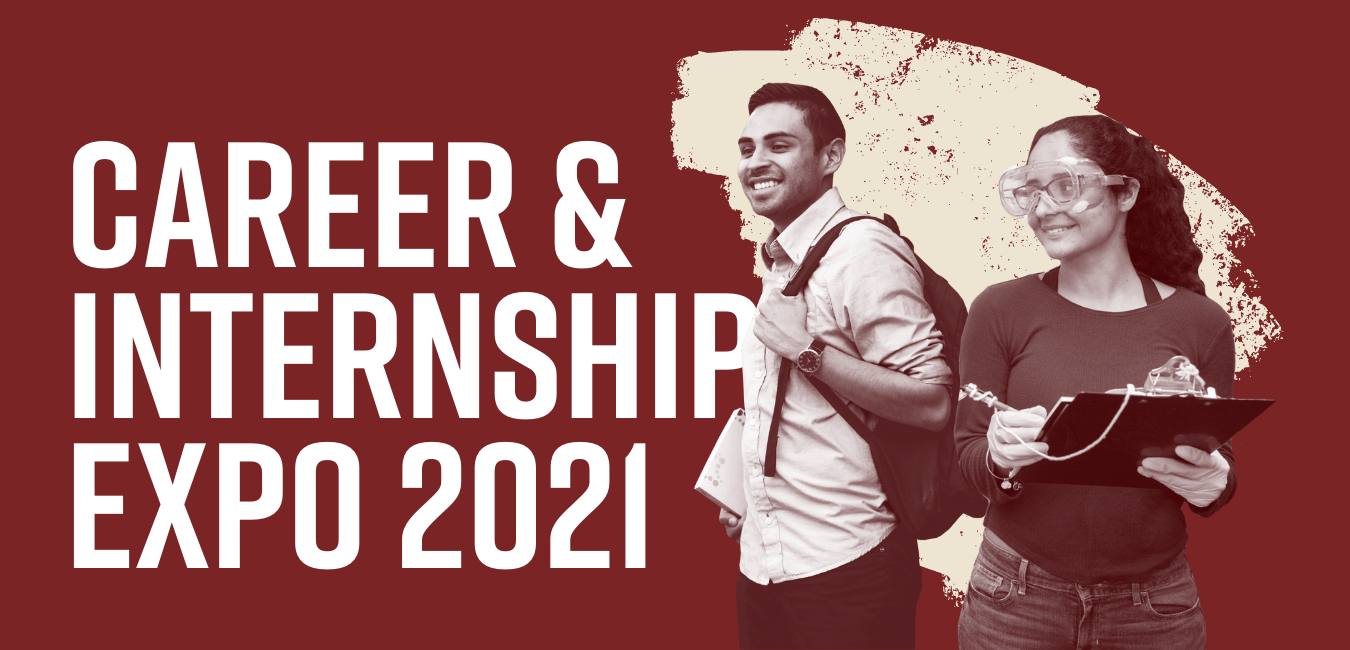 A male college student stands with backpack next to a young college woman. Career and Internship Expo 2021