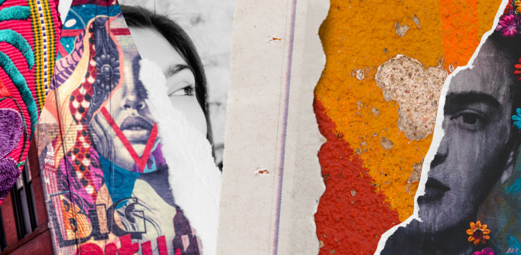 Fragmented strips of images reveal sections of Frida Kahlo, a traditional Latin American fabric, and bright colors of texture.