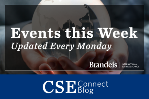 Text: Events this Week, Updated ever monday. CSE Connect Blog over image of hands holding a globe