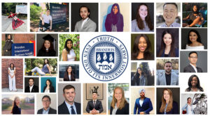 Brandeis logo surrounded by pictures from 2021 commencement
