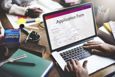 application form on laptop