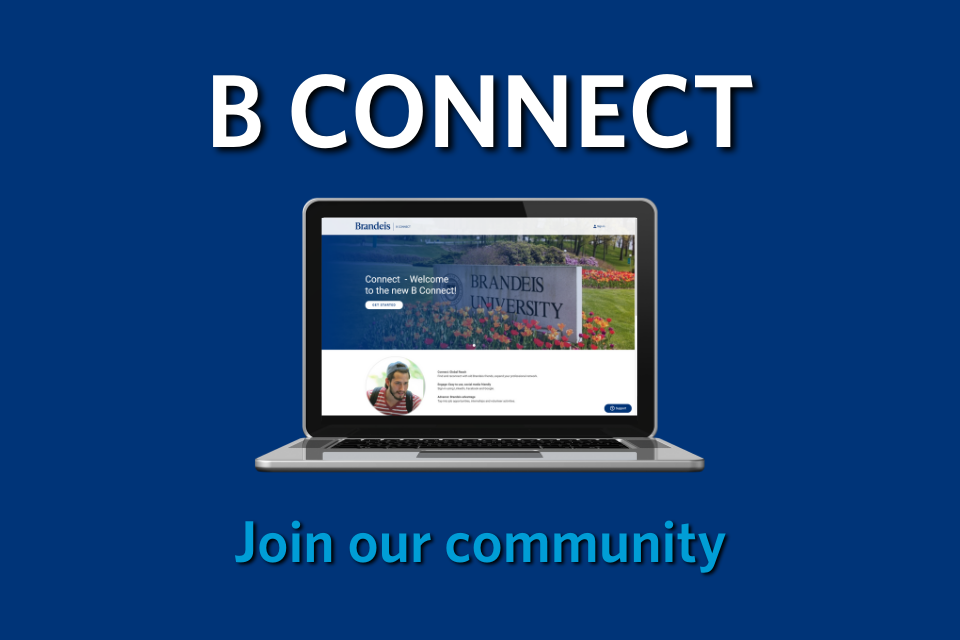 """blue background with computer screen and words """"B Connect: Join our community"""""""