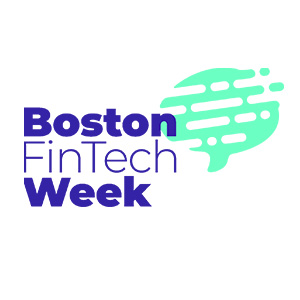 Boston FinTech Week logo blue text on white background
