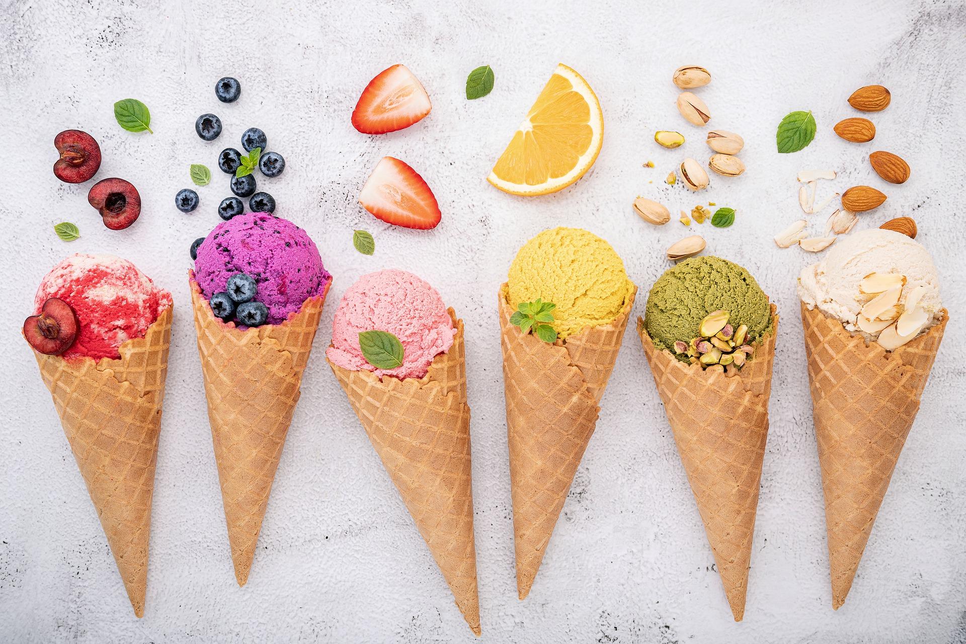 six ice cream cones on white background