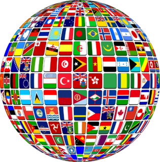 globe made up of individual country flags