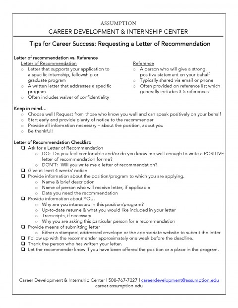 Requesting a Letter of Recommendation