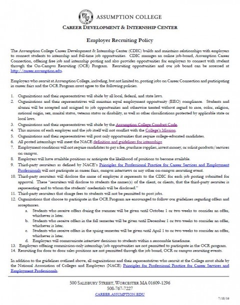 Employer Recruiting Policy