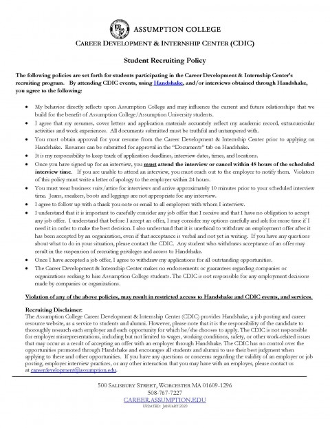 Student Recruiting Policy – CCE and Graduate Students