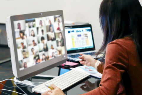Office Women Using Computer Laptop For Online Meetings Or Online
