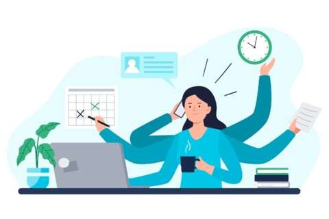 A Businesswoman Does All Work Tasks In Time. Multitasking, Time