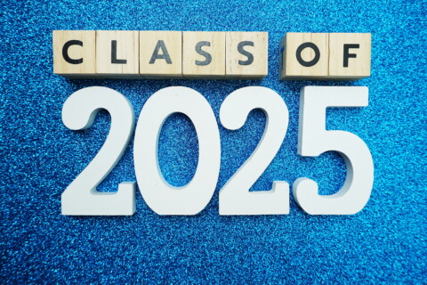 Class Of 2025 Word Alphabet Letters On Blue Glitter Background