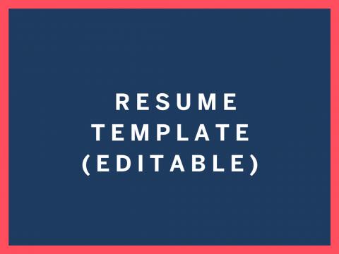 Resume Template Editable