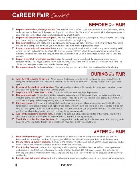 Career Fair Checklist