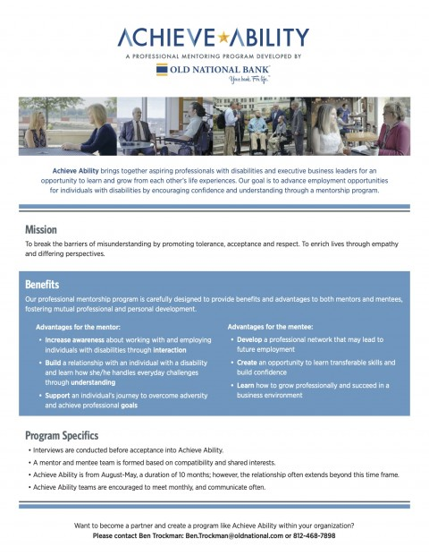 Old National Achieve Ability Professional Mentoring Program