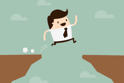 An illustrated person jumps over a gap.
