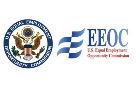 eagle seal with blue wave logo on right and red and blue text