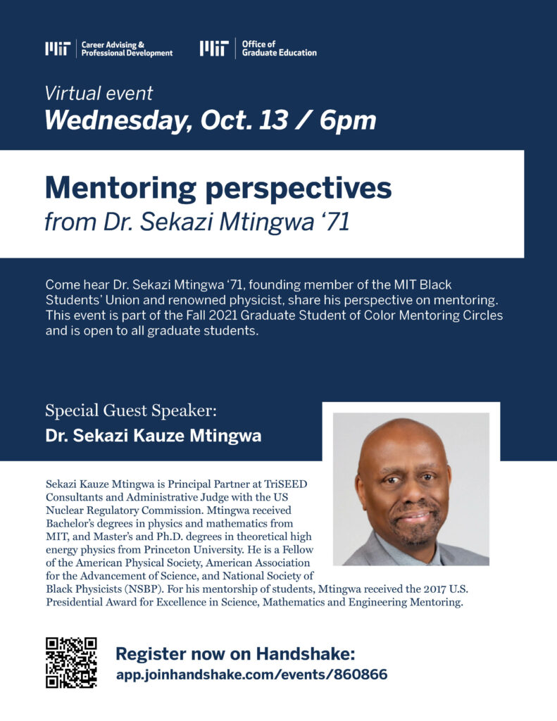 """A flyer featuring event details for the keynote speaker event, """"Mentoring perspectives."""" For full information on the event, please view the link above."""