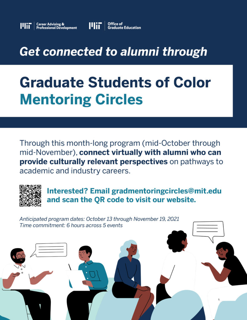 Flyer sharing the information on Mentoring Circles described above, featuring illustrated people.