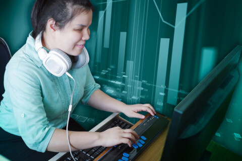 In this digital collage, a photograph shows a blind woman with headphones who is typing on a braille keyboard. An artistic bar graph is overlayed in the teal background. MIT researchers have conducted a study with blind and sighted readers to determine the most useful descriptive alternative text to include with a chart.