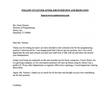 Nice Rejection Follow Up Sample Letter