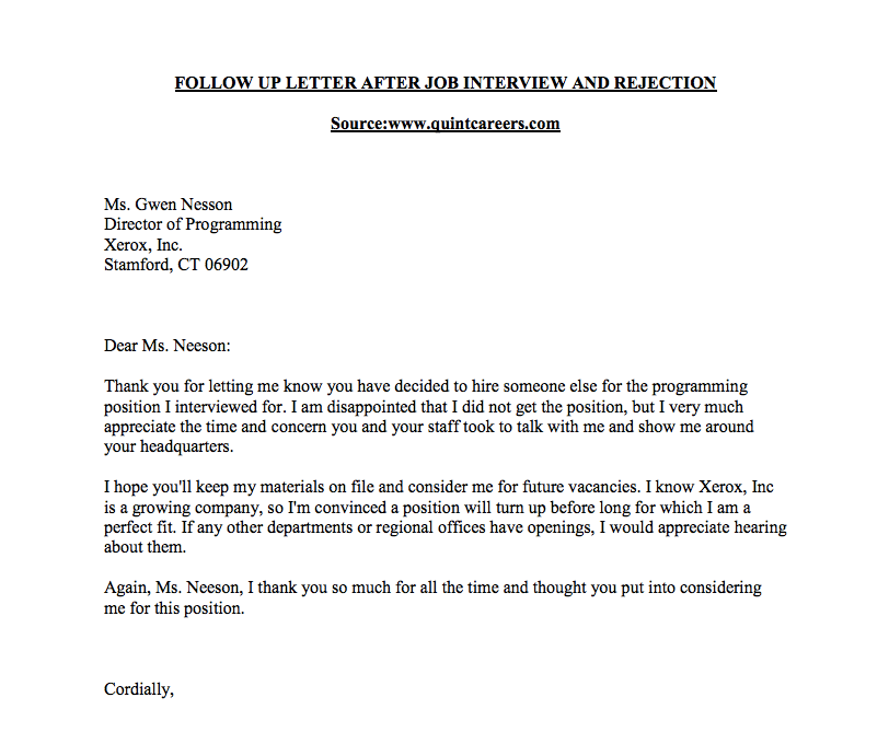 thank you letter after rejection