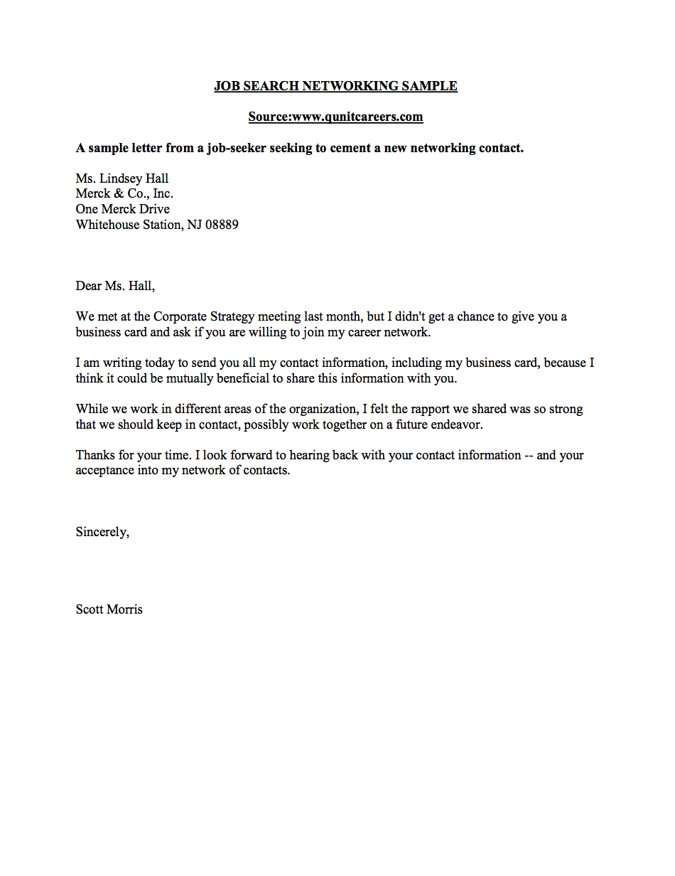 Networking letter sample business career center smeal college of networking letter sample business career center smeal college of business wajeb Image collections