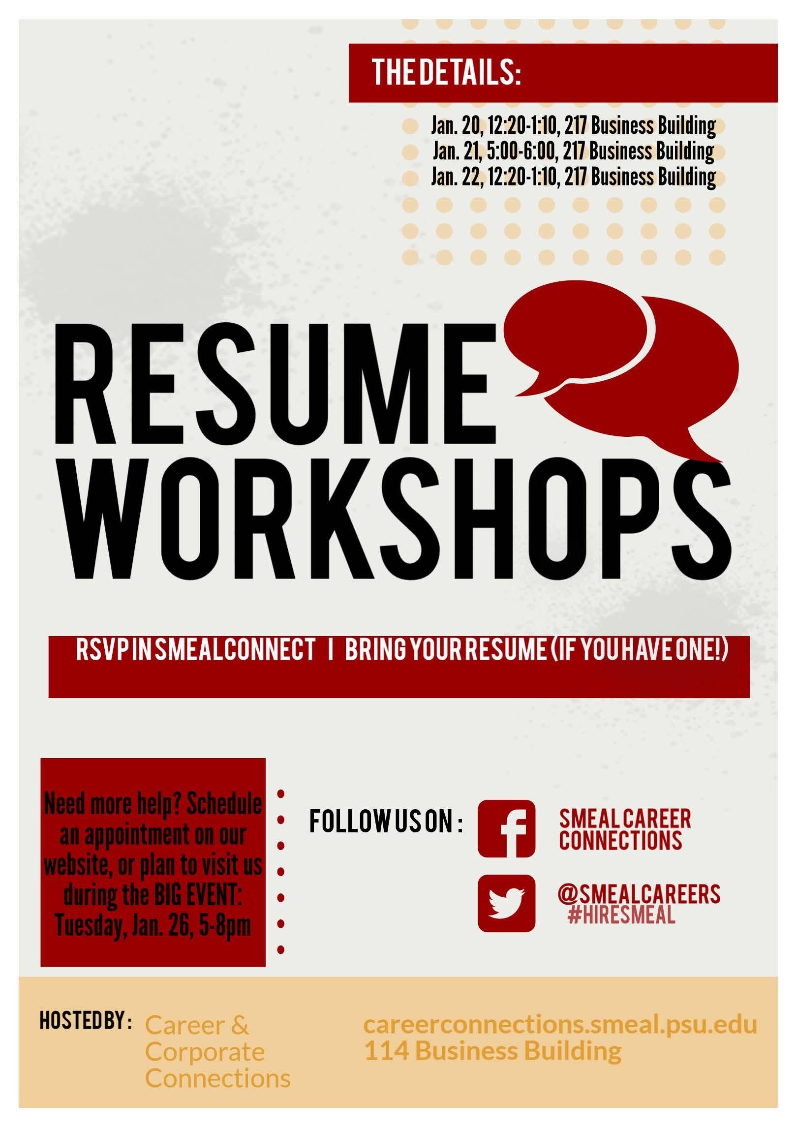 Resume Workshop Awesome Spring Semester Resume Workshops Business Career Center Smeal