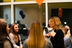 A photo of students and alumni mingling at last year's Liberal Arts Career Night, in October 2019.