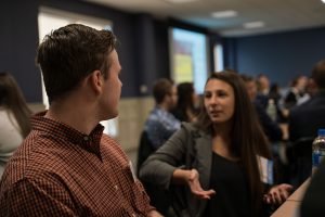 Photo of student and alumni networking at Fall 2019 Accounting Networking Breakfast.