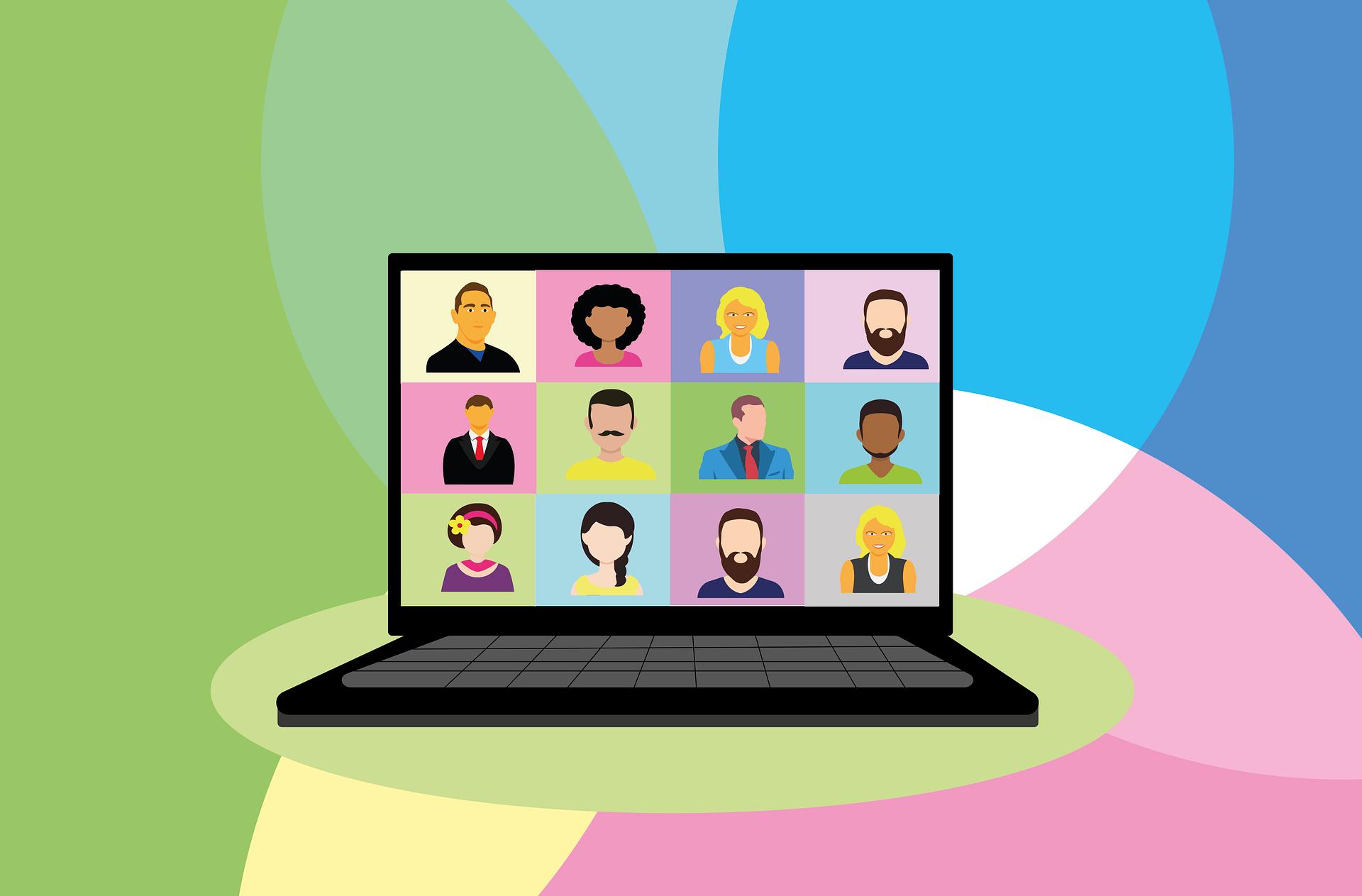 Illustration of open laptop.