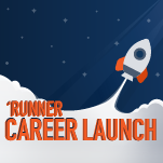 Runner Career Launch logo - with a rocket launching off