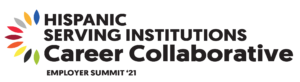 HSI Career Collaborative Logo - Arch of 9 colors on the left, the words Hispanic Serving Institutions Career Collaborative Employer Summit'21 are stacked up