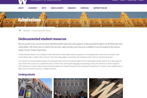 UW Admissions: Undocumented Student Resources