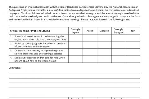 intern performance evaluation template career internship center university of washington. Black Bedroom Furniture Sets. Home Design Ideas