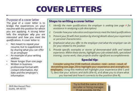 cover letters career internship center university of washington