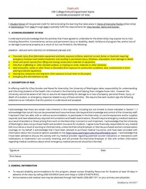 Acknowledgement of Risk Form