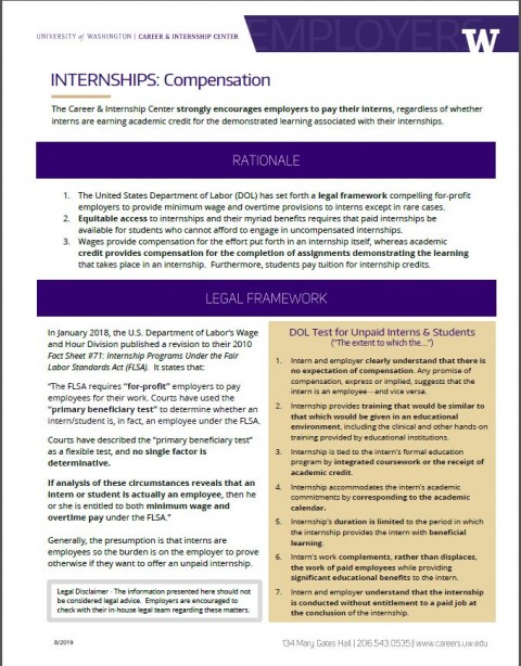 Internships – Compensation