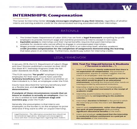 Internships: Compensation