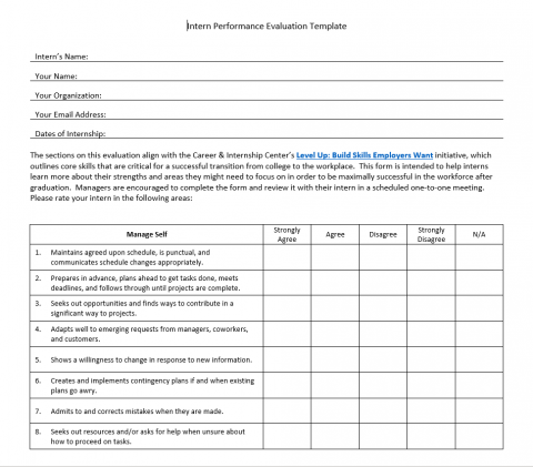 Intern Performance Evaluation Template – manager version