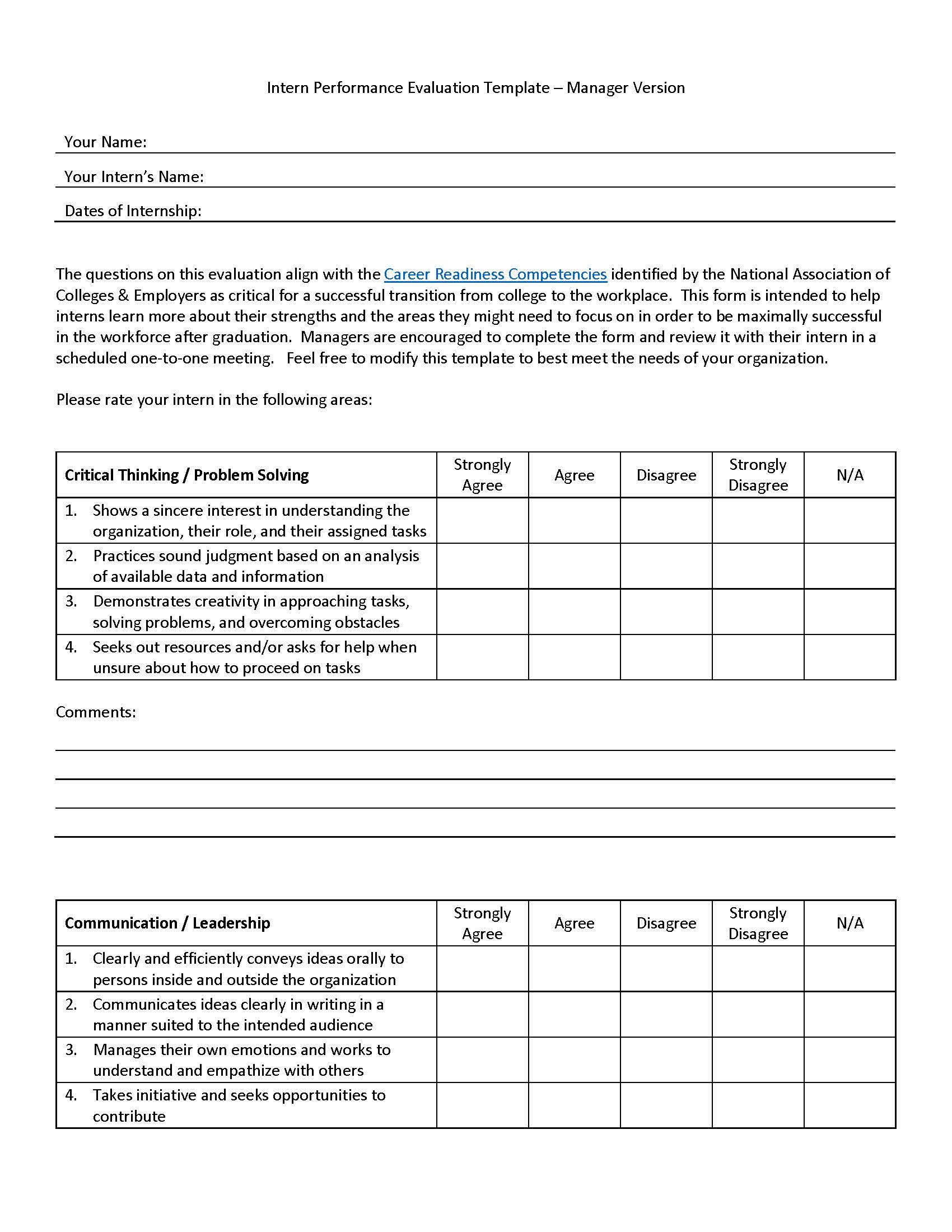 intern performance evaluation template  u2013 manager version