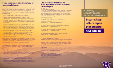 Addressing Sexual Harassment – UW Title IX Office Brochure