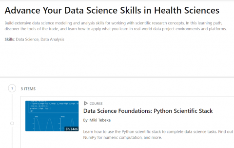 LinkedIn Learning Path – Advance Your Data Science Skills in Health Sciences