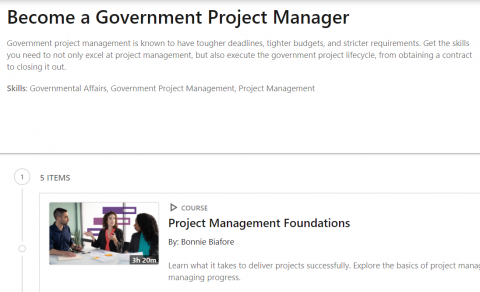 LinkedIn Learning Path – Become a Government Project Manager