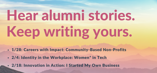 Header image for the Winter Alumni Panel Series