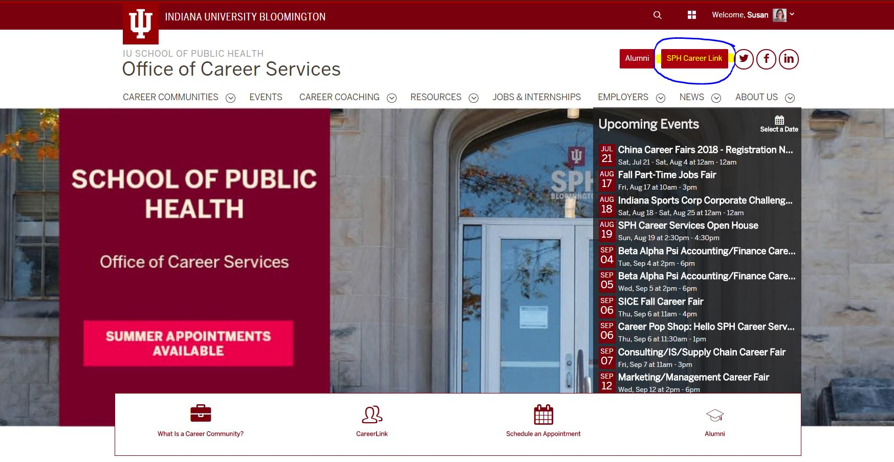 image of UConnect homepage for Office of Career Services