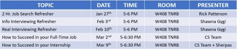 2020 Winter Semester ProDev Calendar