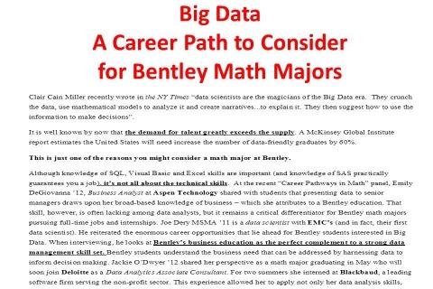 Big Data – Math Majors