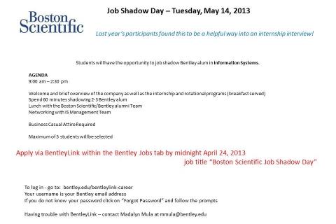 Boston Scientific – Job Shadow