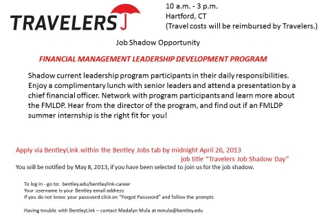 Travelers  Job Shadow Flyer