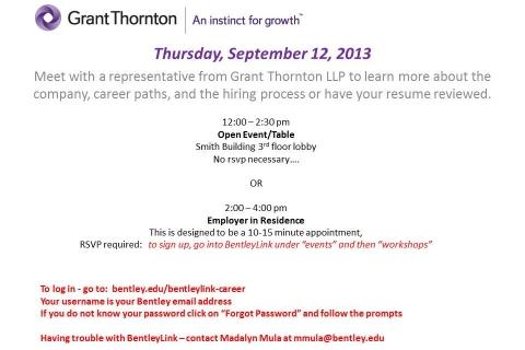 Grant Thornton Open Event & Employer in Residence